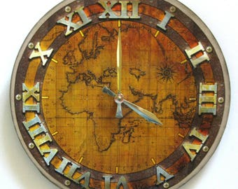 Wall clock map clock ancient world map world map vinyl ancient world map clock large wall clock modern clock vinyl clock gumiabroncs Gallery