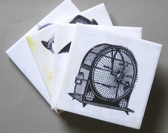 Coaster set. Steampunk coasters. Unique coasters. Ceramic coasters. Steampunk.