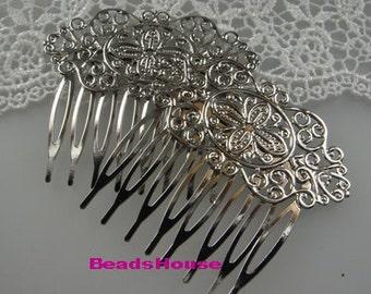 HC-36-Sv 2pcs Silver Plated Brass Filigree Hair Combs,Nickel Free