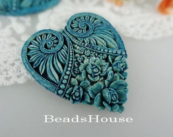 330-00-BL-CA  2pcs Tie-Dyed Heart Rose Cameo, Blue