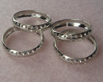 Sale 10% RR-700-10 10pcs  Adjustable Silver-Plated  Ring W/22 Holes, Nickel Free