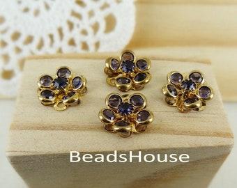 4pcs -(15mm) PRECIOSA Amethyst Crystal in Golden Brass Riveted Flower/Buttons