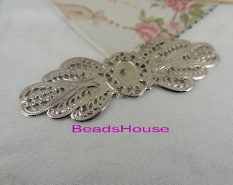 FF-01-Si  2pcs Silver Plated Filigree Stamping Findings Pendant, Neckel Free