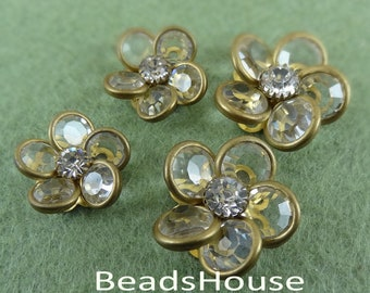 2pcs -(15/20mm)PRECIOSA Clear Crystal in Brass Riveted Flower/Buttons