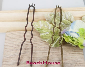 2pcs  (100mm)  Antique Bronze / Red Cooper Hair Fork Charm Diy Hair Accessories