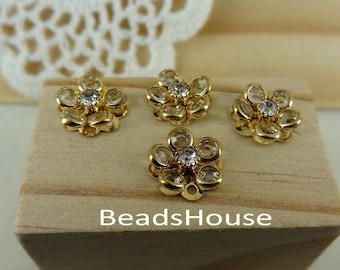 4pcs -(15mm) PRECIOSA Clear Crystal in Golden Brass Riveted Flower/Buttons