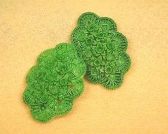 20% OFF- 331-00-CA  2pcs Tie - Dye Flowers Cabochon - Lime Green