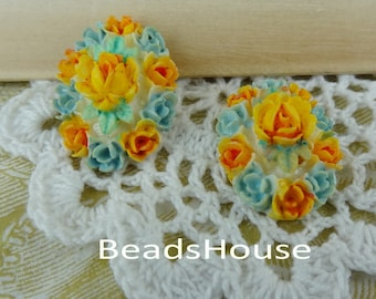 20%off 418-00-CA  4 Pcs ( 18x25mm) Hand-Paint Oval Rose Cameo - Yellow/Blue