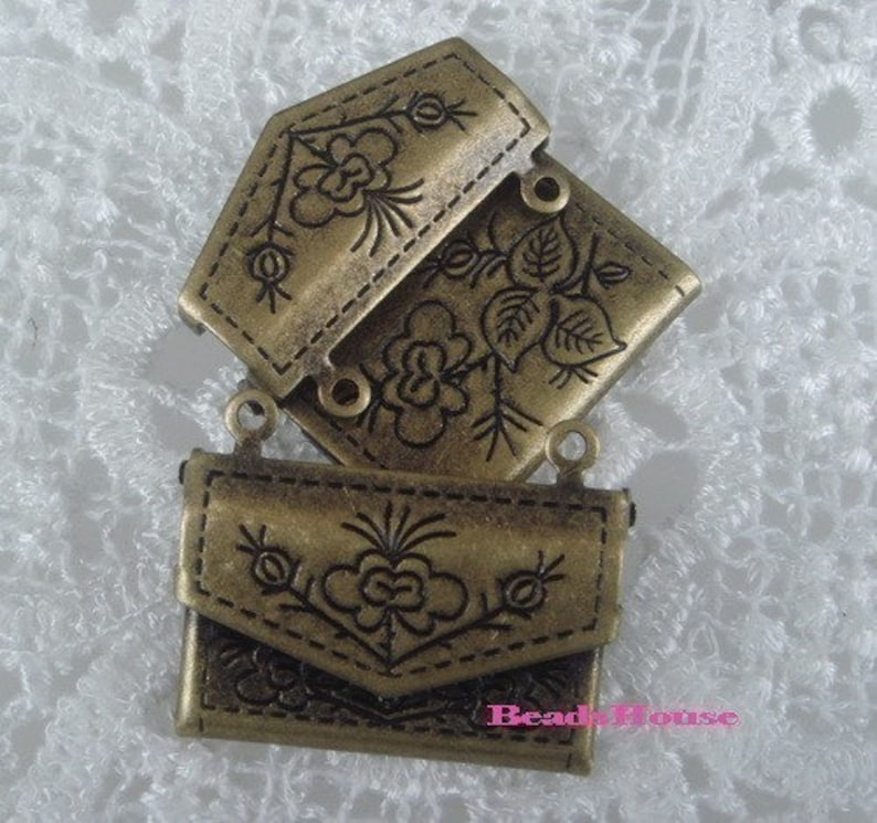 20/%off LK-100-45Anti  4pcs Antique Brass Cuties Envelope  Locket Nickel Free.