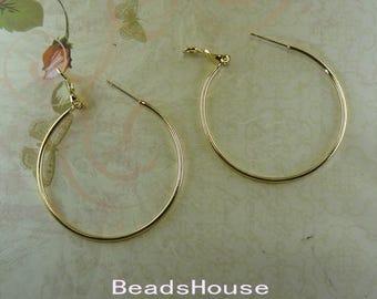 24pcs - (12 pairs)  40mm  Golden Plated  Earrings Brass Hoop Earrings - Nickel Free