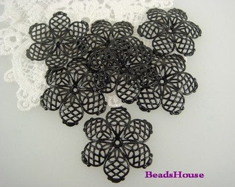 10 Pcs  Black Coating 6 Petal Filigree ,Nickel Free