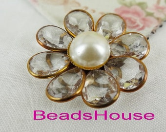 FF-600-01 -FW    1pc (40mm) Raw Beaded Flowers Flat Back With Pearl-Clear