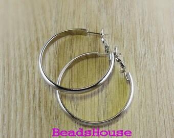 24pcs - (12 pairs)  30mm  Silver  Plated Earrings Brass Hoop Earrings - Nickel Free