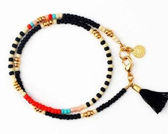 Black Beaded Bracelet, Tassel Friendship Bracelet, Beaded Wrap Bracelet, Charm Bracelet, Boho Jewelry, Gift for Her, Best Friend Gift