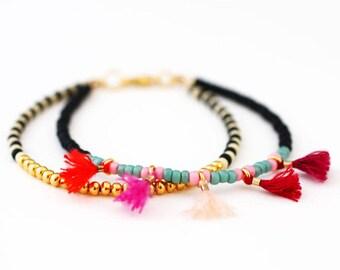 Beaded Bracelet, Beaded Friendship Bracelet, Multi Strand Bracelet, Seed Bead Bracelet, Tassel Bracelet, Best Friend Gift