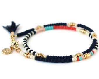 Matte Black Beaded Wrap Bracelet with Gold Coin Charm and Small Tassel, Best Friend Gift