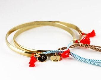 Tassel Bangle Bracelet, Gold Bangle Bracelet, Tassel Bracelet, Gold Initial Bangle, Bracelets for Women, Best Friend Gift, Friendship Gift