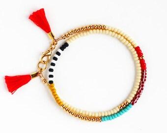 Beaded Bracelet, Friendship Bracelet, Tassel Bracelet, Muliticolor Bracelet