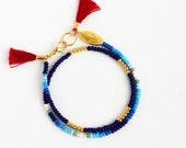 Blue Seed Bead Bracelet, Beach Jewelry, Unisex Gifts