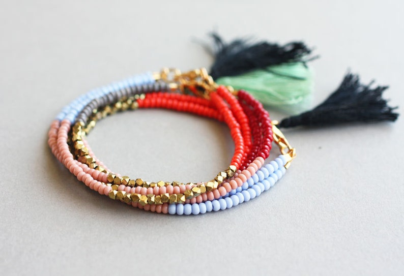 Gift for Women Boho Seed Bead Bracelet with Tassel Friendship Bracelet
