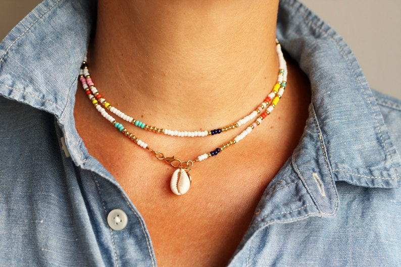 75bb60be1b182 Shell Choker, Cowrie Shell Necklace, Hippie Layered Necklace