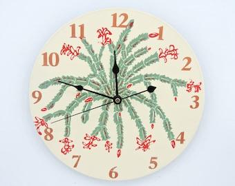 Christmas Cactus Wall Clock