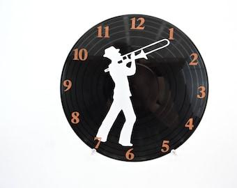 Trombone Vinyl Record Clock
