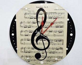 Clef Note Wall Clock Sheet Music
