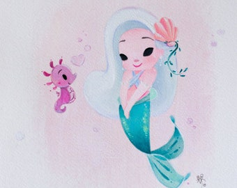 Baby Mermaid and Seahorsie Friend fine art print