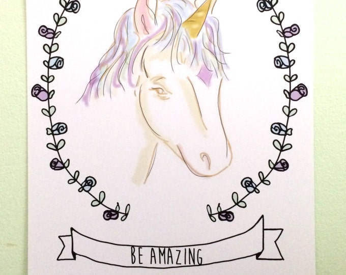 Unicorn Art, Be Amazing, Unicorn Fantasy Art, Childrens Art, Unicorn Nursery Art