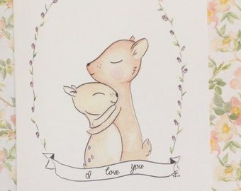 Mama and Baby Deer Watercolor Birthday Card, Deer Birthday Card, Deer I love you, I love You I always have and I always will, recycled paper