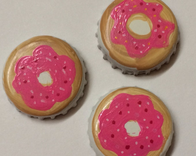 Doughnut Magnets, Donut Magnets, Set of Three Hand Painted Pink Sprinkled Doughnut upcycled Bottle Cap super strong neodymium magnets