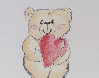 Bear Birthday Card, Sending love and Bear Hugs, from my drawing made on recycled paper comes with envelope and seal