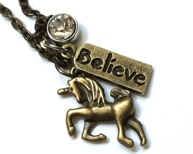 Unicorn Necklace, 18 inches long, antique bronze, Believe In Unicorns, with three charms, in antique gold