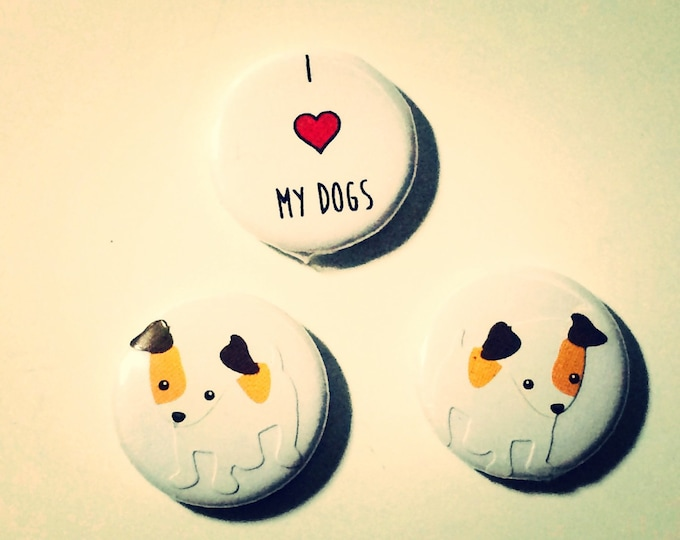 Jack Russell Terrier Magnets, I love my dogs, set of three, 1 inch magnets or buttons, made on recycled paper, Jack Russell Terrier Buttons