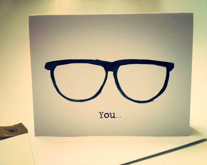Naughty Card, You Fog Up My Glasses, snarky I love you, anniversary card, from my watercolor, made on recycled paper