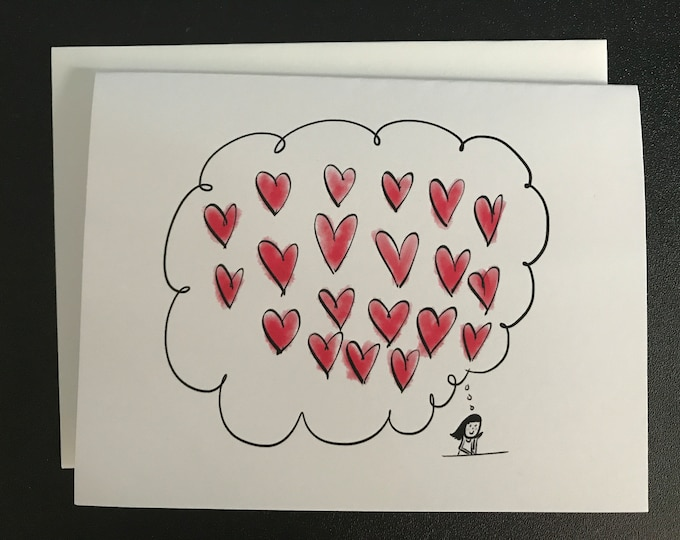 Love Card, I think of you all day long, made on recycled paper, comes with envelope and seal