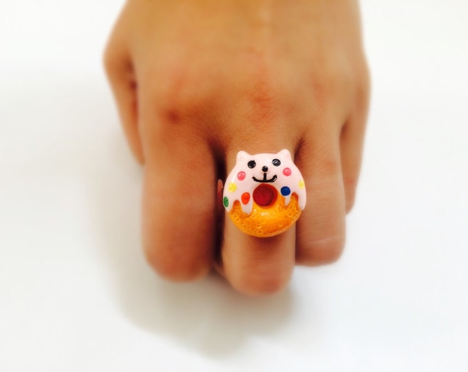 Cat Donut Adjustable Ring, Kawaii, One size fits most, silver colored metal