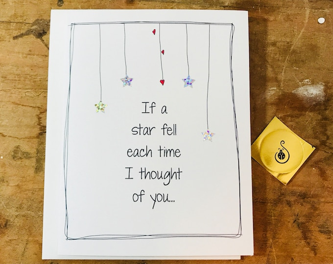 I love you card, If a star fell each time I thought of you, the sky would be empty, doodle love card, made on recycled paper, comes with env