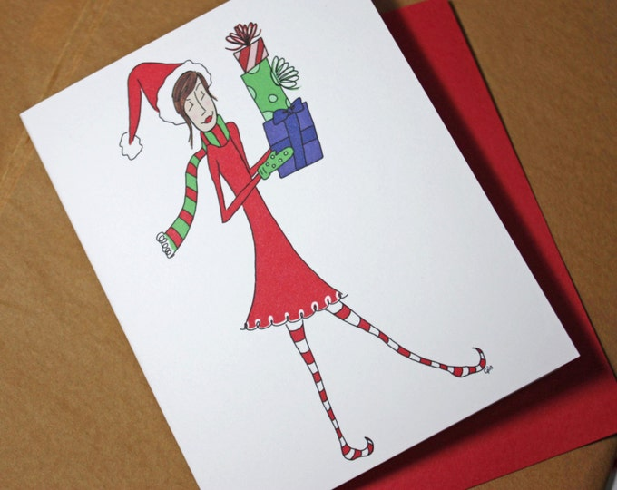 Posh Polly Delivering Christmas Gifts, Have Yourself A Merry Little Christmas, recycled paper