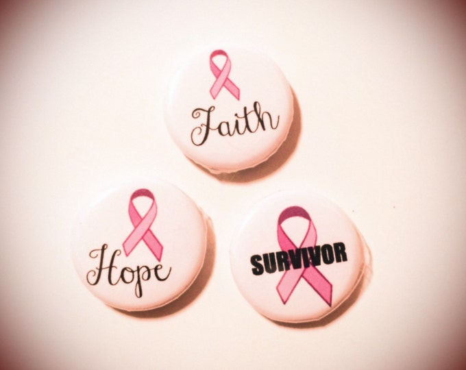 Breast Cancer Survivor magnets or pin back buttons, faith, hope, 1 inch, set of three, made with recycled paper, brooch