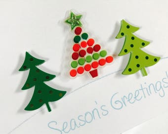 Christmas Card Set, Whimsical Christmas Trees, Happy Holidays, set of Four, made on recycled paper, comes with envelope and seal
