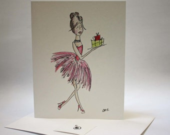 Posh Polly, Off to the Party bearing gifts, Glittered Card for bridal shower, birthday party, christmas or new years