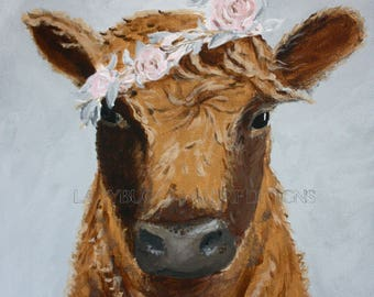 Cow Art, Cow with Flower on Head, Print available as framed mini art print