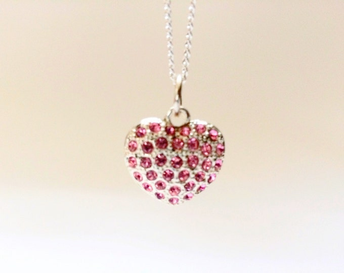 Sweet Heart Pink Jeweled Pendant on 18 inch silver colored necklace