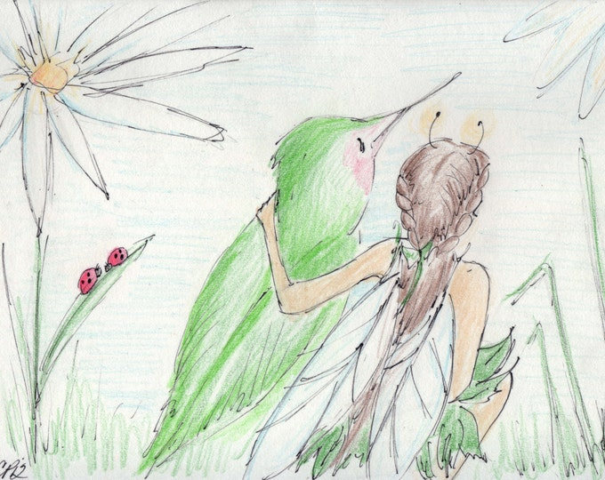 Fairy Art, Fairy and Humming Bird Friends,  Signed Print of my Drawing