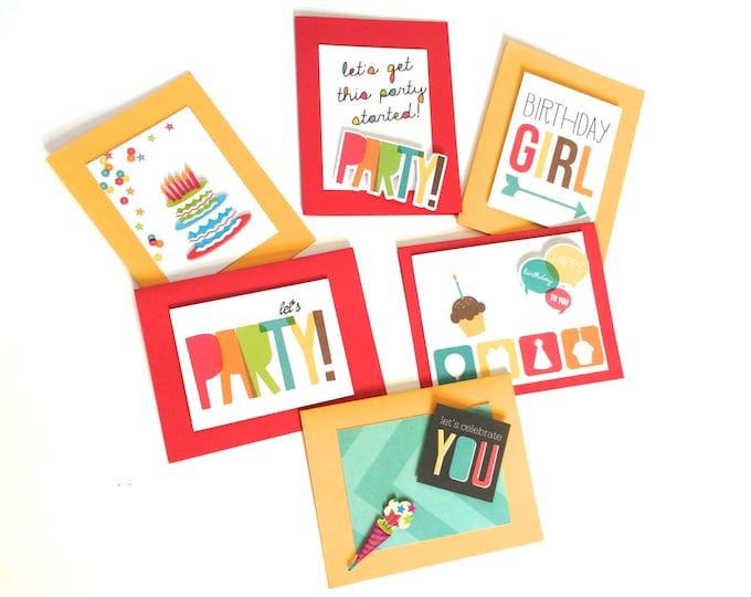 Birthday Card Set, Pack of Birthday Cards, Primary Colors come with envelopes and seals