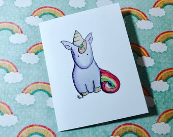 Unicorn Baby Card, Unicorn New Baby Card, comes with envelope and seal, made on recycled paper