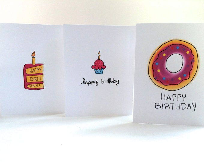 Birthday Card Set, Set of Cards, pack of cards, Cupcake Doodle, Cake Doodle, Donut Doodle card set of three, made on recycled paper