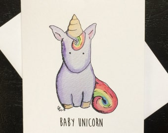 Baby Unicorn Birthday Card, Unicorn Birthday Card, Funny Card for guys, made on recycled paper, comes with envelope and seal